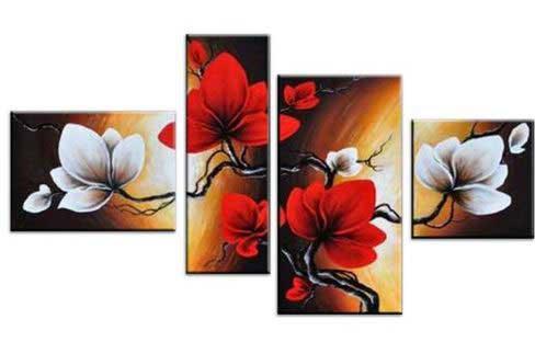 fyrdelade tavla med blommor