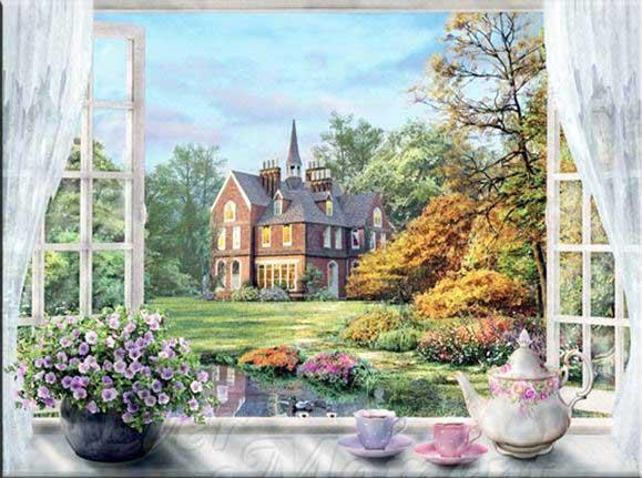 På fönsterbrädan har du en teservis och en blomma. Ute i trädgården är det färgsprakande blommor och träd.