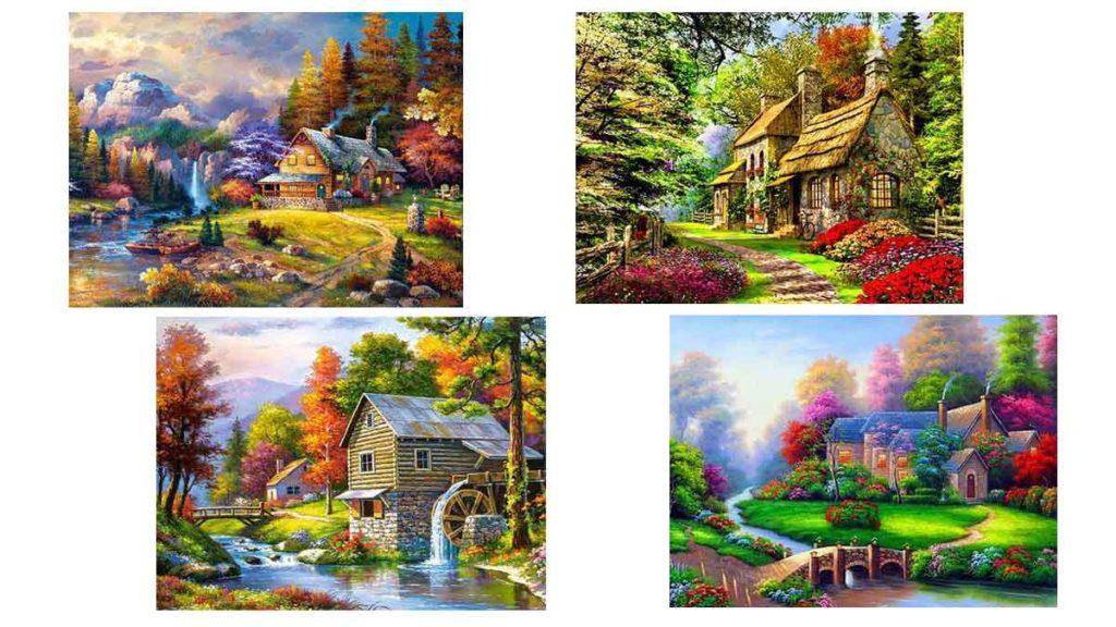 hus i olika färgglada miljöer