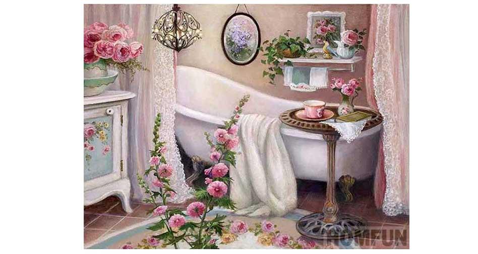 Blommor i ett badrum