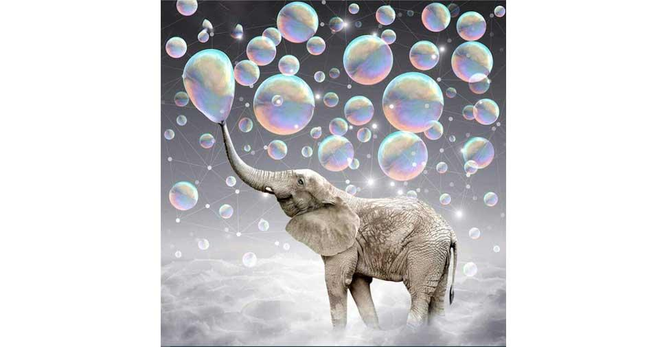 Bubbelblåsande elefant