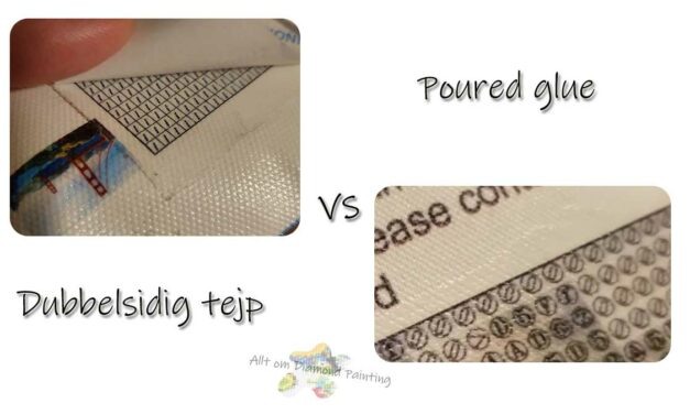 Poured glue (hällt lim) vs dubbelsidig tejp