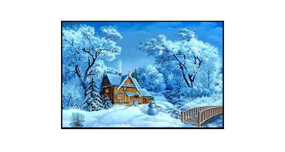 Hus i snötäcke